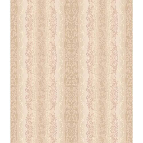 Charleston Iridescent Beige and Tan Damask Stripe  Wallpaper