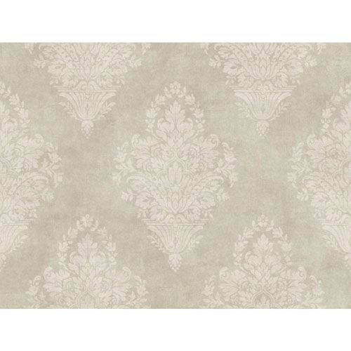 Charleston Pale Silver Green and Taupe Woven Damask Wallpaper