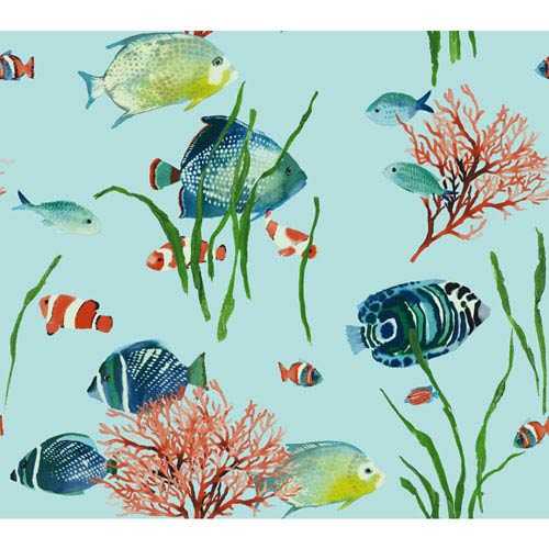 Ashford House Tropics Blue and Green Tropical Reef Wallpaper: Sample Swatch Only