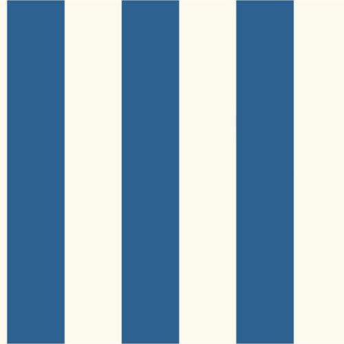Ashford House Tropics Bright Blue and White 3-Inch Stripe Wallpaper