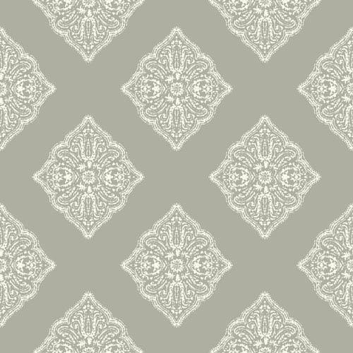 Ashford House Tropics Grey and White Henna Tile Wallpaper