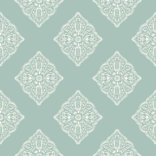 Ashford House Tropics Aqua and White Henna Tile Wallpaper