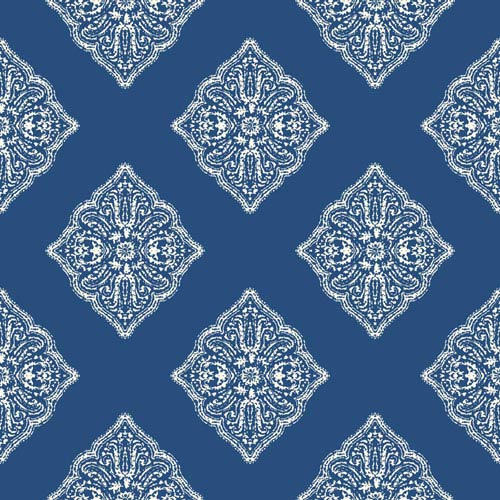 Ashford House Tropics Medium Blue and White Henna Tile Wallpaper