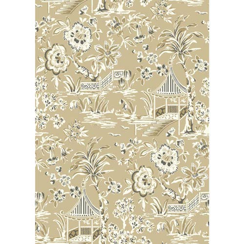 Ashford House Tropics Tan and Khaki Tahiti Scenic Wallpaper