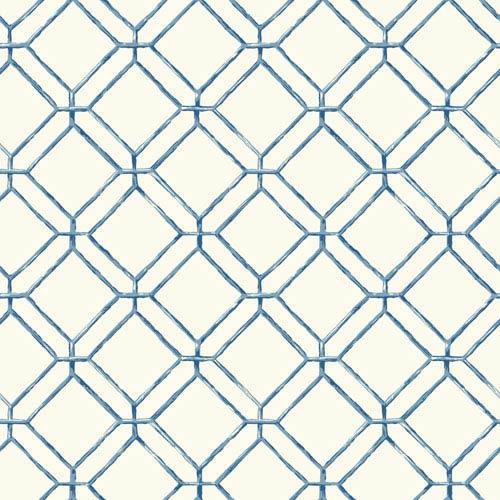 Ashford House Tropics White and Blue Diamond Bamboo Wallpaper