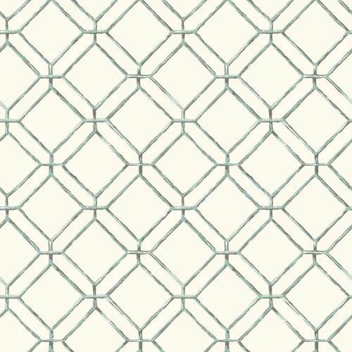 Ashford House Tropics White and Aqua Diamond Bamboo Wallpaper