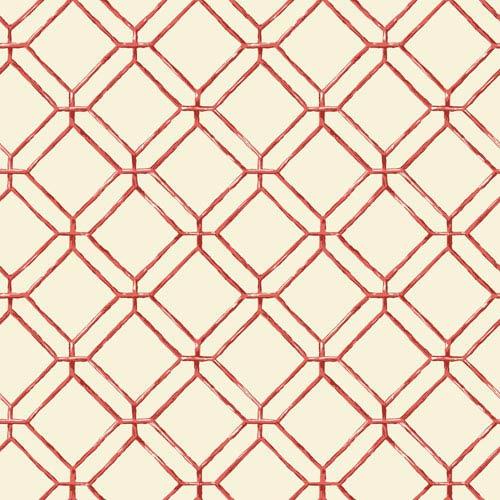 Ashford House Tropics Cream and Coral Diamond Bamboo Wallpaper