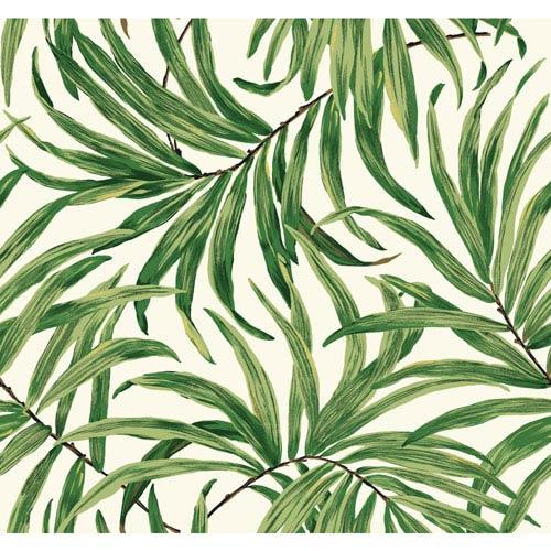 Ashford House Tropics White and Green Bali Leaves Wallpaper