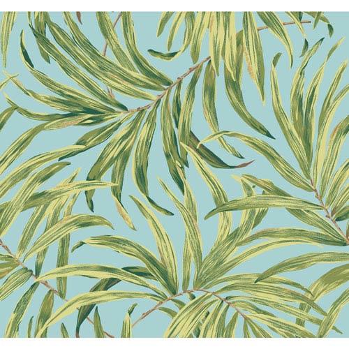 Ashford House Tropics Aqua and Green Bali Leaves Wallpaper