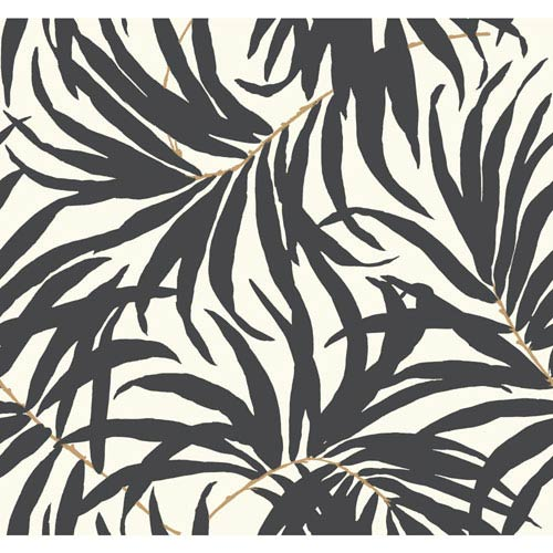York Wallcoverings Ashford House Tropics Off-White and Grey Bali Leaves Wallpaper