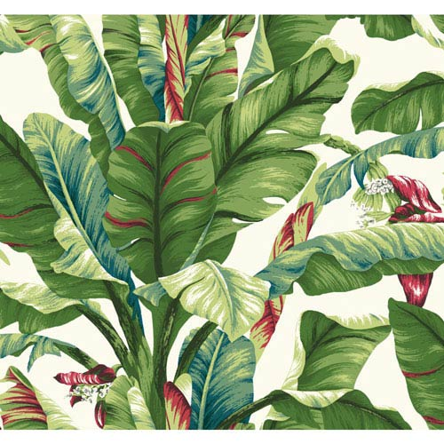 Ashford House Tropics White and Teal Green Banana Leaf Wallpaper: Sample Swatch Only