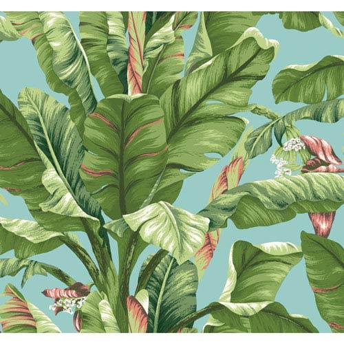 Ashford House Tropics Aqua and Green Banana Leaf Wallpaper