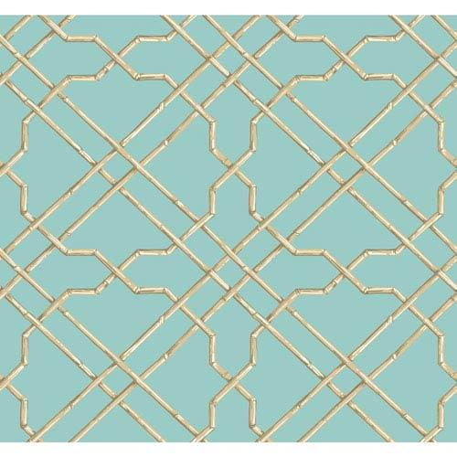 Ashford House Tropics Aqua and Beige Bamboo Trellis Wallpaper: Sample Swatch Only