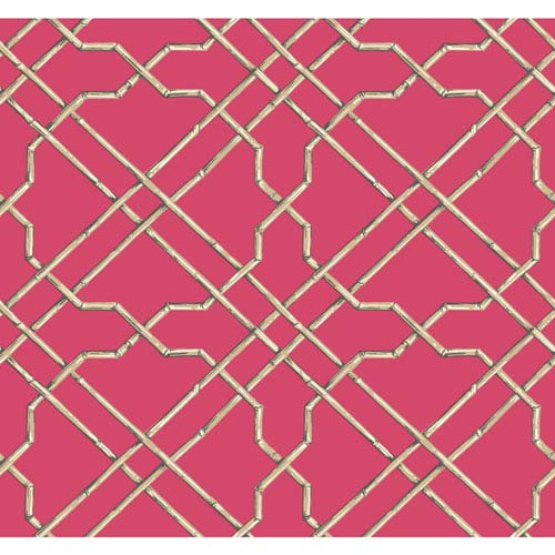 Ashford House Tropics Bright Pink and Beige Bamboo Trellis Wallpaper