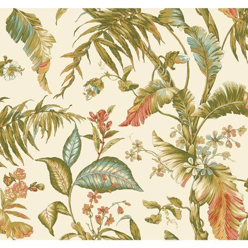 Ashford House Tropics Cream and Green Fiji Garden Wallpaper