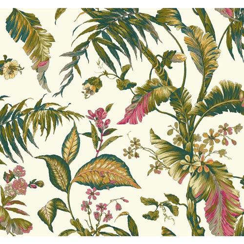 Ashford House Tropics White and Dark Green Fiji Garden Wallpaper: Sample Swatch Only