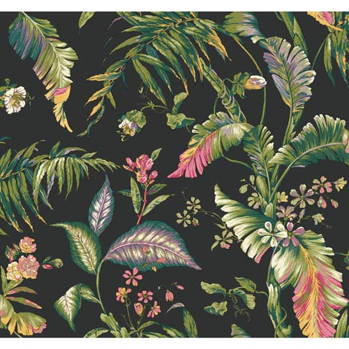 Ashford House Tropics Black and Green Fiji Garden Wallpaper: Sample Swatch Only