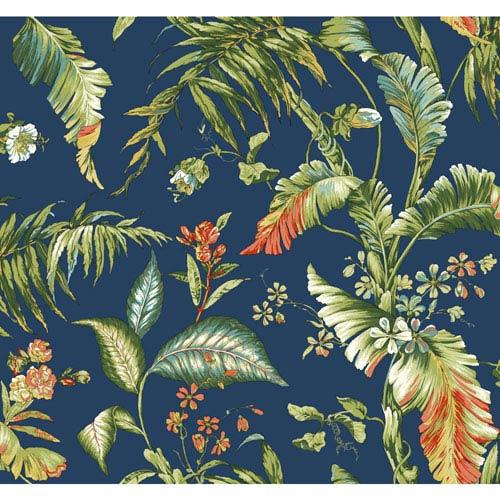 Ashford House Tropics Deep Blue and Green Fiji Garden Wallpaper