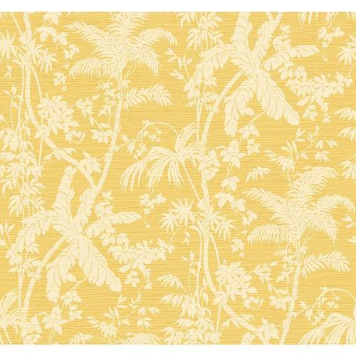Ashford House Tropics White and Yellow Palm Shadow Wallpaper