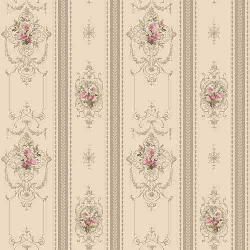 120th Anniversary Pearlescent Beige and Taupe Delicate Rose Stripe Wallpaper