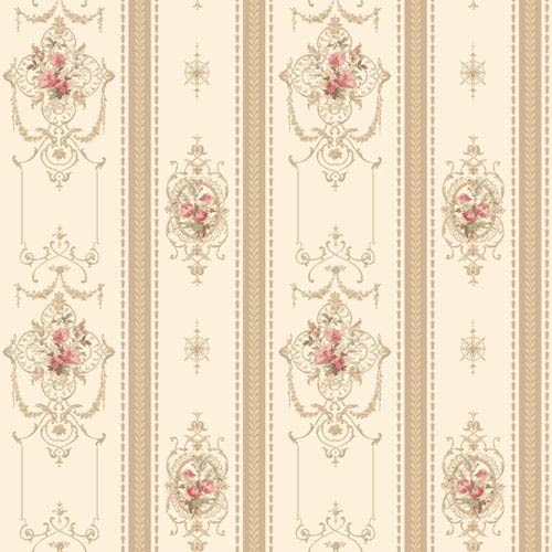 120th Anniversary Off White and Tan Delicate Rose Stripe Wallpaper