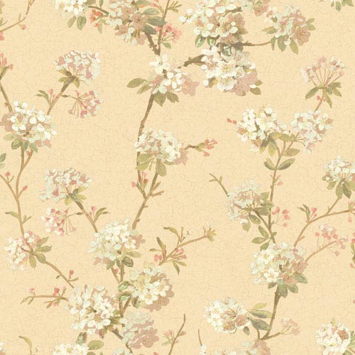 York Wallcoverings 120th Anniversary Pale Gold And Pink Cherry Blossom Wallpaper Sample Swatch Only