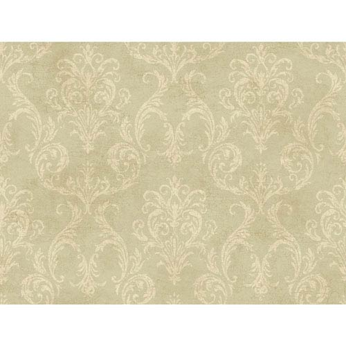 York Wallcoverings 120th Anniversary Pale Green Grey And Gold Delia Damask Wallpaper