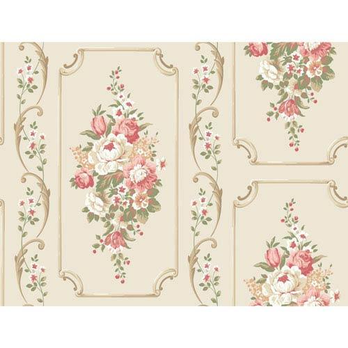 York Wallcoverings Casabella II Warm White Floral Panel Wallpaper