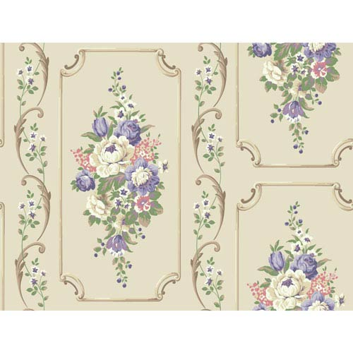 York Wallcoverings Casabella II Beige Floral Panel Wallpaper: Sample Swatch Only