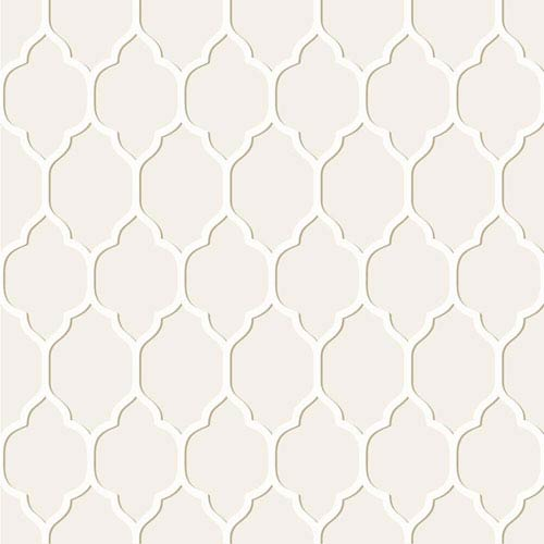 York Wallcoverings Casabella II Cream and Beige Moroccan Trellis Wallpaper: Sample Swatch Only