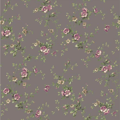 York Wallcoverings Casabella II Pewter Floral Trail Wallpaper: Sample Swatch Only