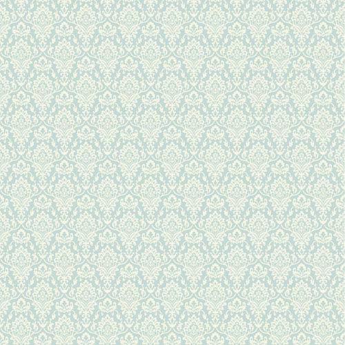 York Wallcoverings Casabella II Aqua and Light Cream Intricate Damask Wallpaper