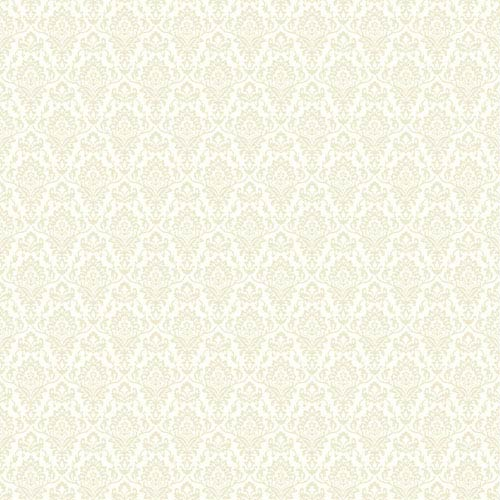 York Wallcoverings Casabella II Warm White and Ecru Intricate Damask Wallpaper: Sample Swatch Only
