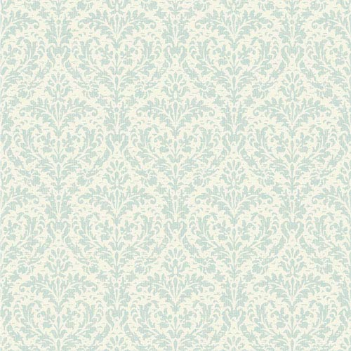 York Wallcoverings Casabella II Ice Blue And Cream Elegant Damask Wallpaper