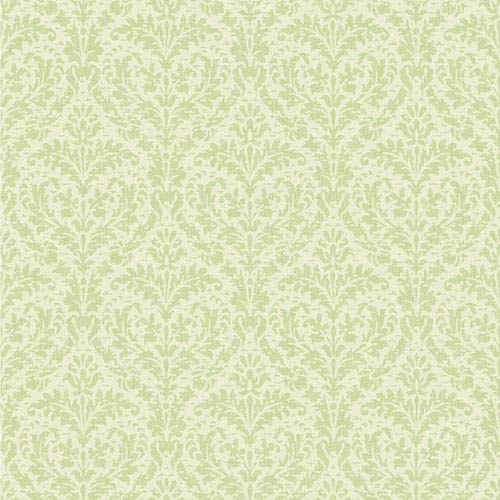 York Wallcoverings Casabella II Mint Green and Cream Elegant Damask Wallpaper: Sample Swatch Only