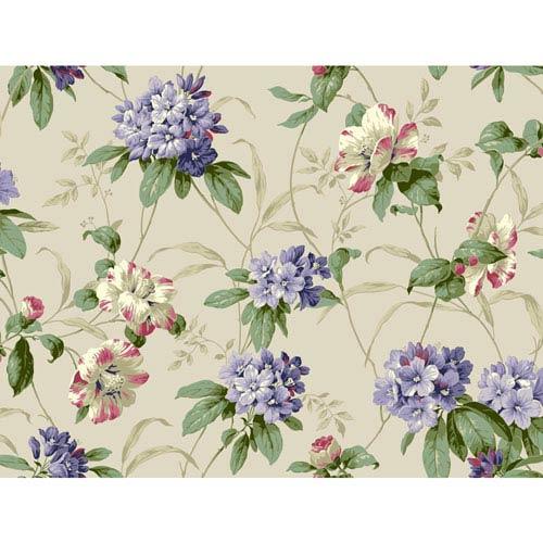 Casabella II Pearl White Rhododendron Floral Wallpaper