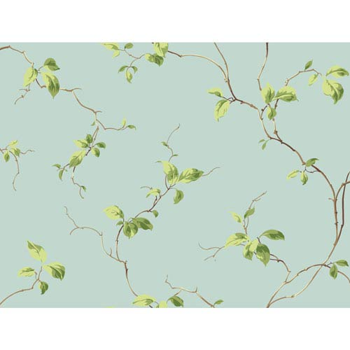 York Wallcoverings Casabella II Aqua Leaves Sidewall Wallpaper