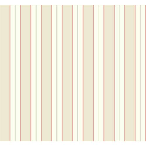 York Wallcoverings Casabella II White and Beige Tailored Stripe Wallpaper: Sample Swatch Only