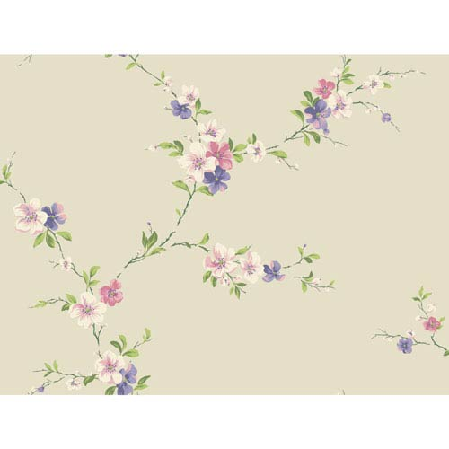 Casabella II Beige Blossom Trail Wallpaper: Sample Swatch Only