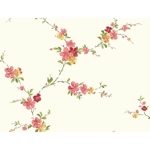 Casabella II Bright White Blossom Trail Wallpaper: Sample Swatch Only