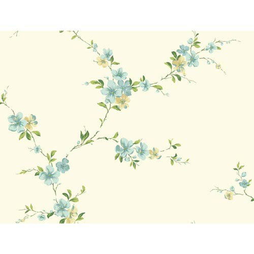 York Wallcoverings Casabella II Butter Cream Blossom Trail Wallpaper