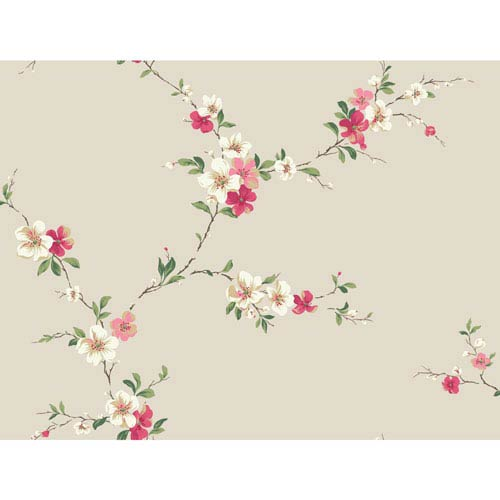 York Wallcoverings Casabella II Pearl Blossom Trail Wallpaper: Sample Swatch Only