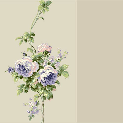York Wallcoverings Casabella II Ecru Pearl and Lavender Rose Stripe Wallpaper