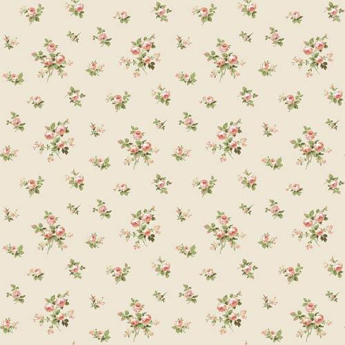 York Wallcoverings Casabella II Pearl Mini Rose Toss Wallpaper: Sample Swatch Only