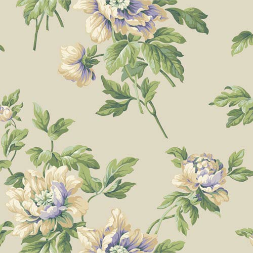 York Wallcoverings Casabella II Pale Yellow Document Floral Wallpaper: Sample Swatch Only