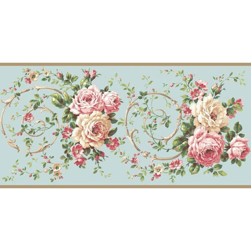 Casabella II Aqua Rose Scroll Border