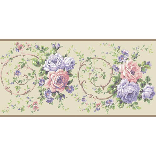 Casabella II Cream Rose Scroll Border