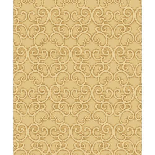 York Wallcoverings Mixed Metals Shadow Scroll Wallpaper- Sample Swatch Only
