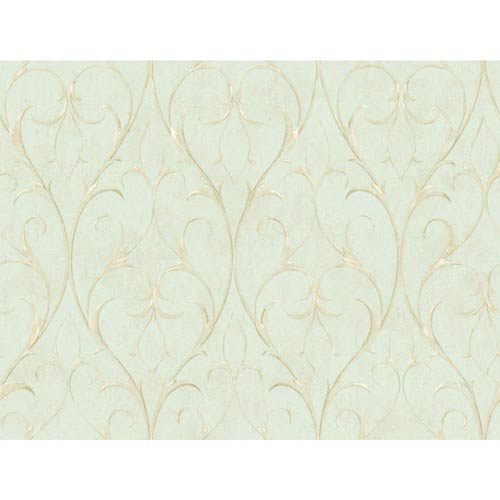 Inspired by Color Spa Blue Delicate Scroll Wallpaper