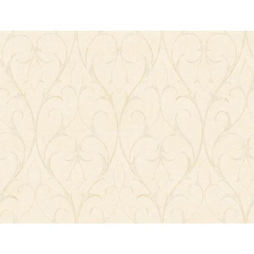 York Wallcoverings Inspired by Color Ivory and Metallic Delicate Scroll Wallpaper: Sample Swatch Only